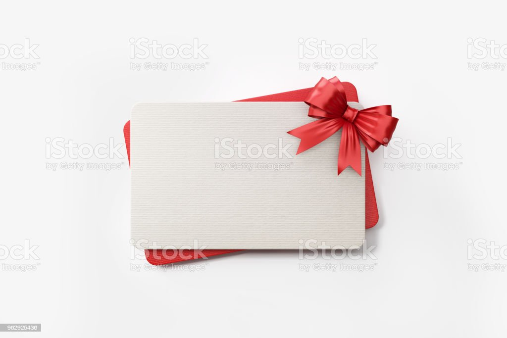 Red And White Gift Cards With Colored Bow Tie On Background Royalty Free