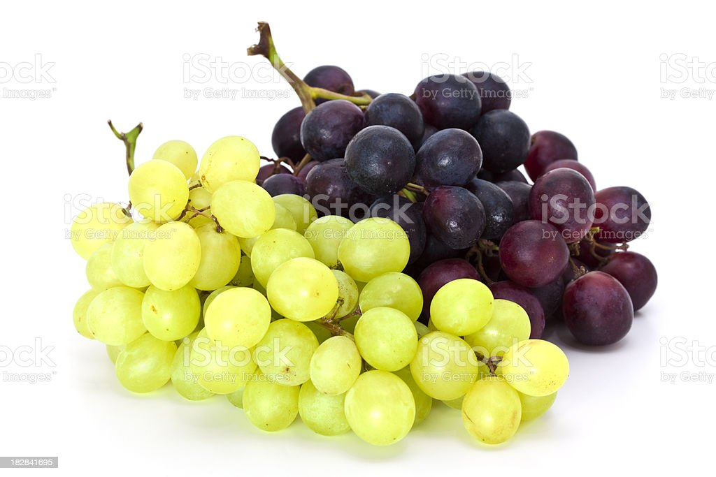close-up of red and white grape isolated on white