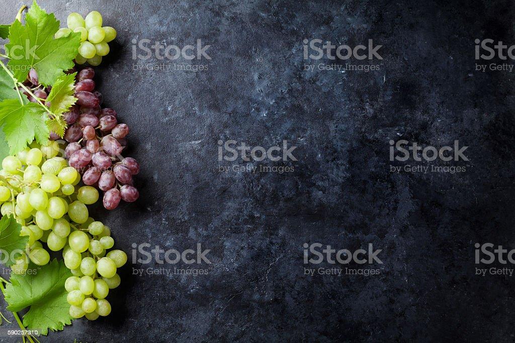 Rote und weiße Trauben - Lizenzfrei Ansicht von oben Stock-Foto