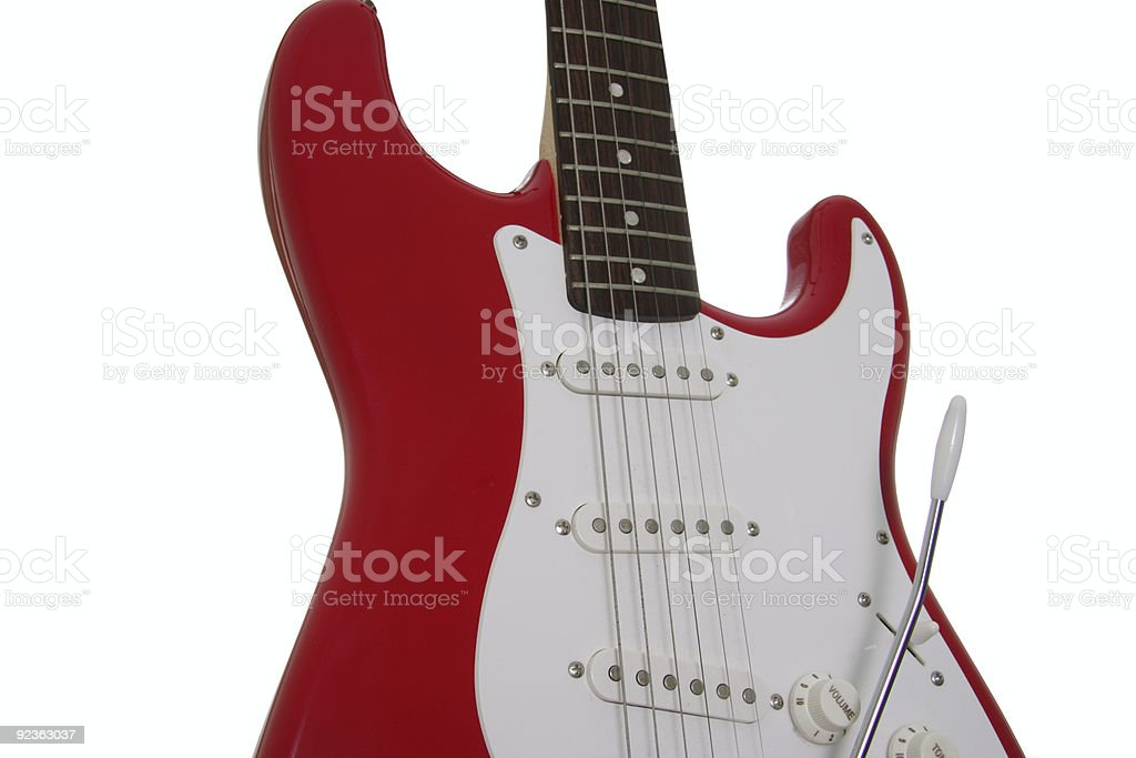 red and white guitar royalty-free stock photo