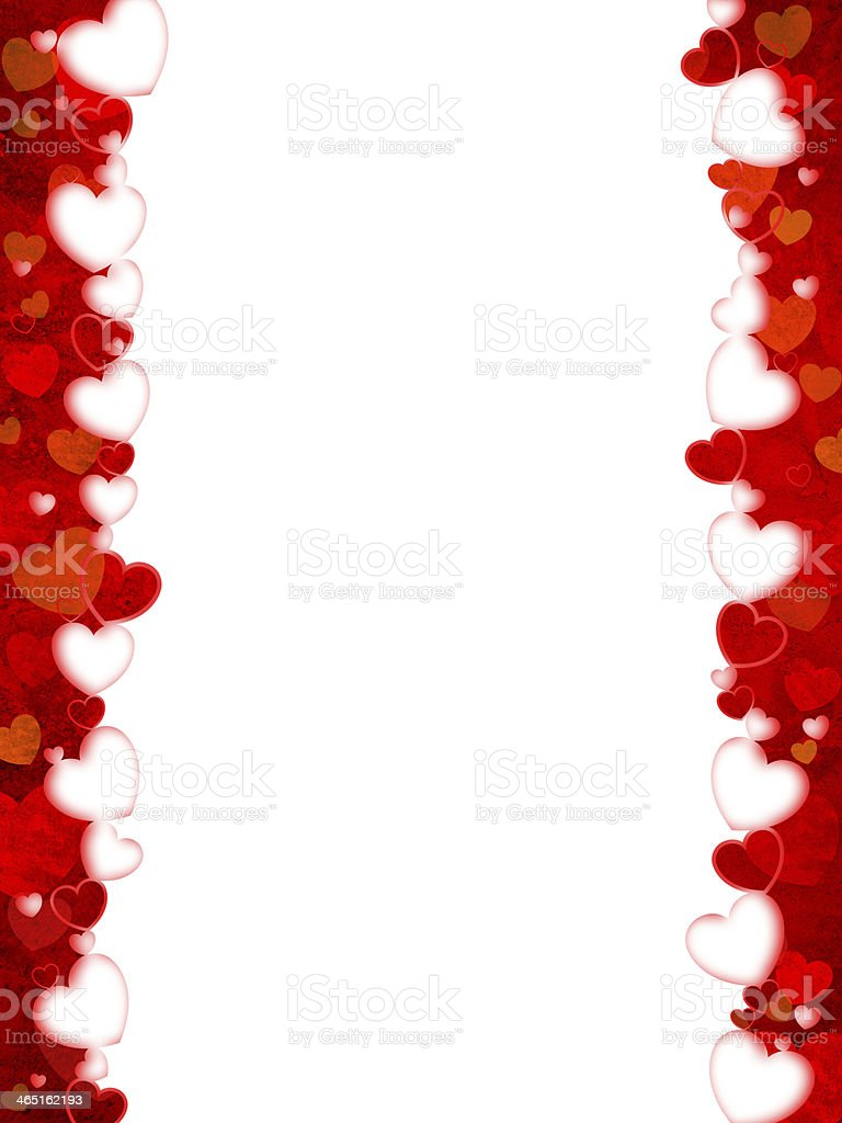 Red and white heart border against a white background stock photo