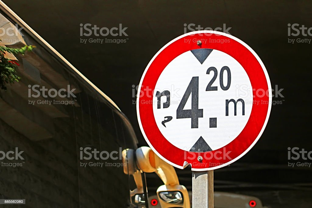 Red and white high limit road sign (4.2 m) in Israel stock photo