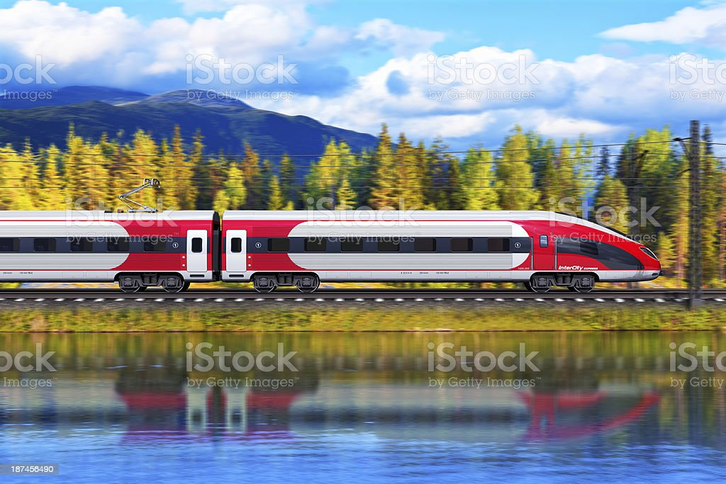 Red and white high speed train stock photo