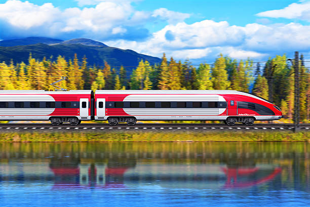 Red and white high speed train See also: bullet train stock pictures, royalty-free photos & images