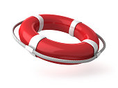 istock Red and white life saver on white background 1273929392