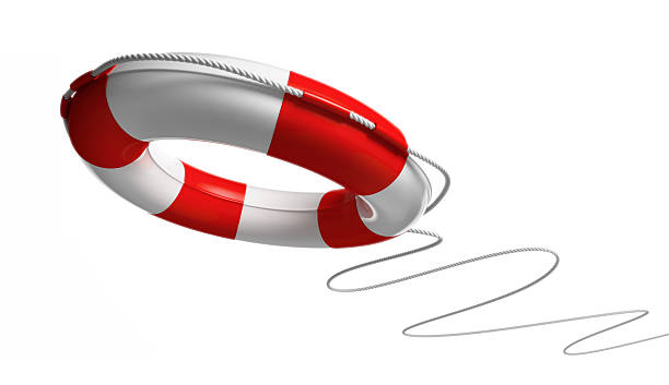 Red and white life saver on white background stock photo