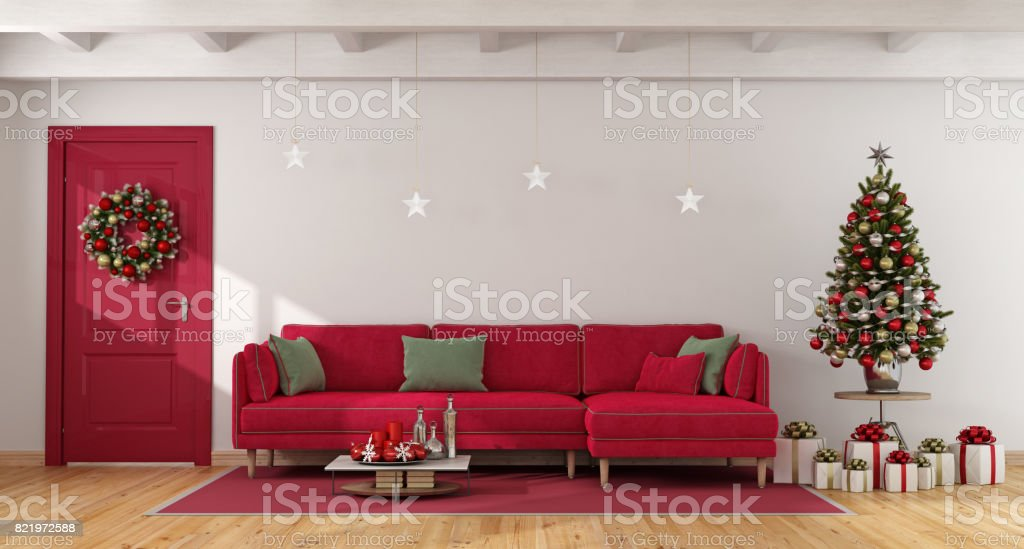 Red and white living with christmas tree - Royalty-free Apartment Stock Photo