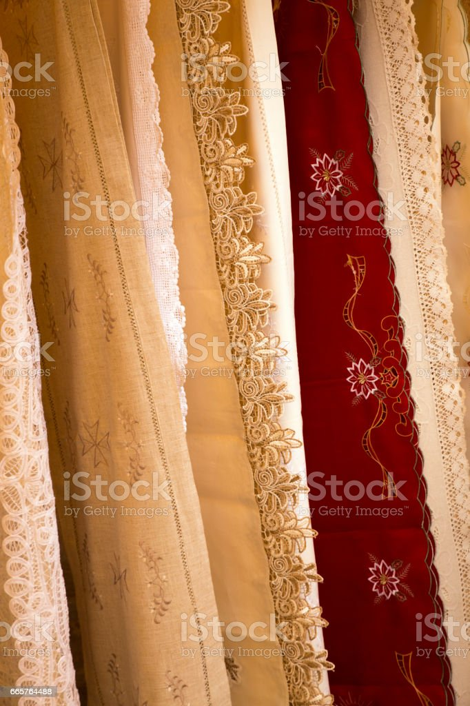 red and white maltesian cloth stock photo