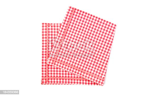 Red and white napkin on white background