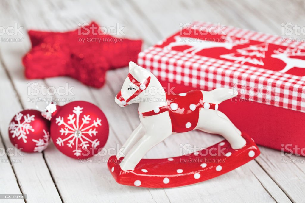 Red and white nordic style Christmas decoration