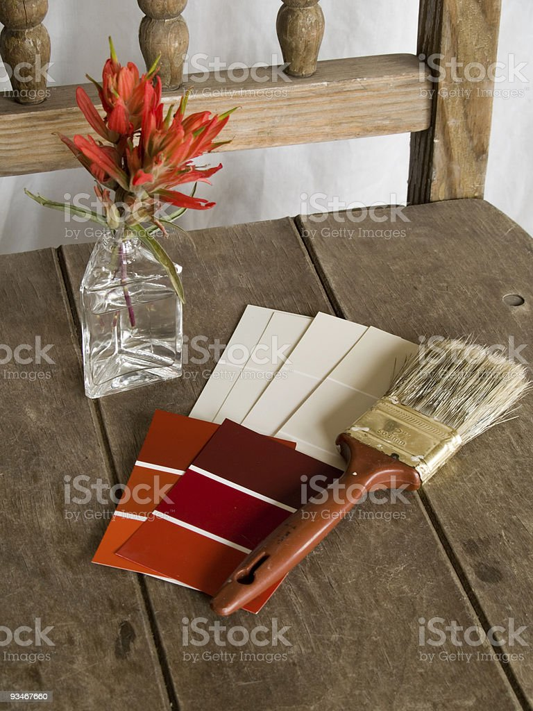 Red and white paint project royalty-free stock photo
