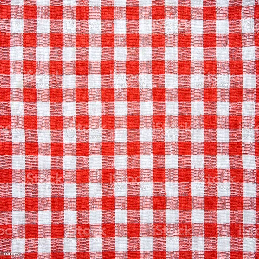 Red and White Plaid Tablecloth textile Background stock photo