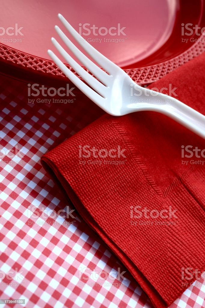 red and white plastic picnic royalty-free stock photo