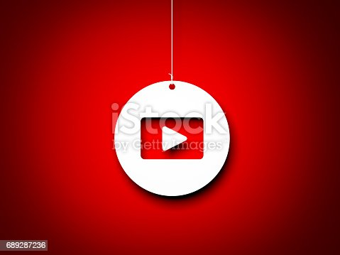 istock Red and white play button - 3d interpretation. 3d rendered image 689287236