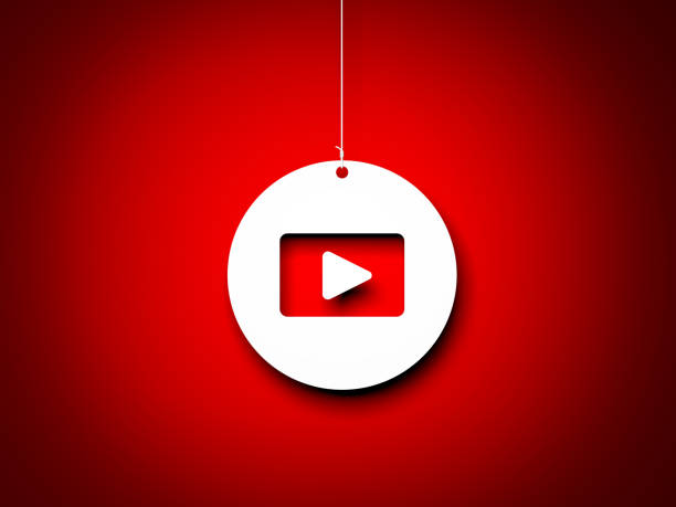 Red and white play button - 3d interpretation. 3d rendered image stock photo