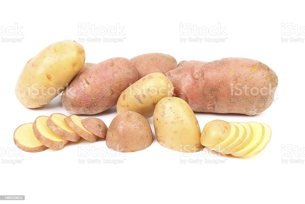 Red and white potatoes. royalty-free stock photo