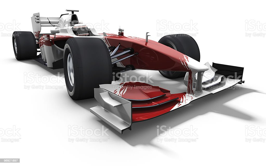 A red and white race car on a white background royalty-free stock photo