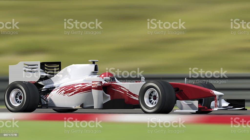 Red and white race car on track stock photo