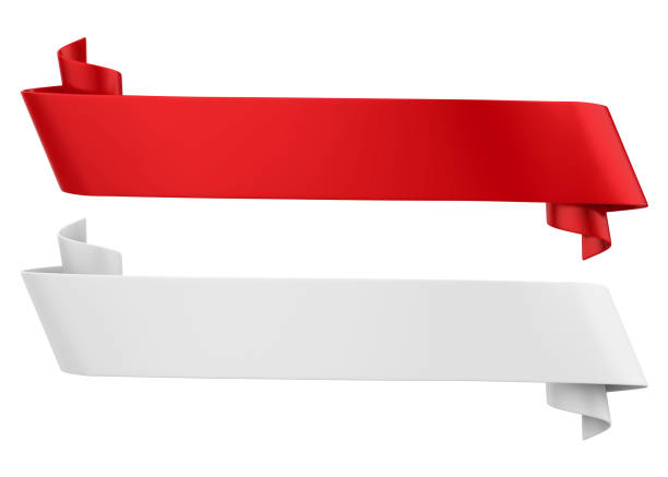 red and white ribbon banners isolated - award ribbon stock photos and pictures