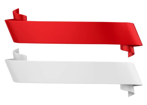 bandeiras vermelhas e brancas da fita isoladas - bandeira - fotografias e filmes do acervo