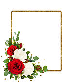istock Red and white rose flowers with eucalyptus leaves and golden glitter frame 958321424