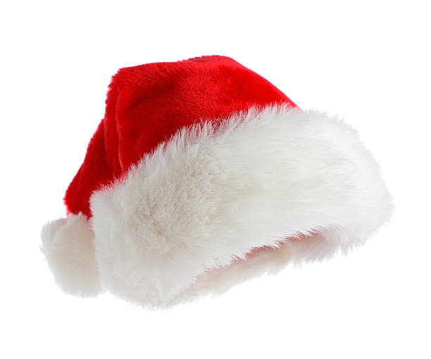 Red and white Santa hat with fuzzy trim stock photo