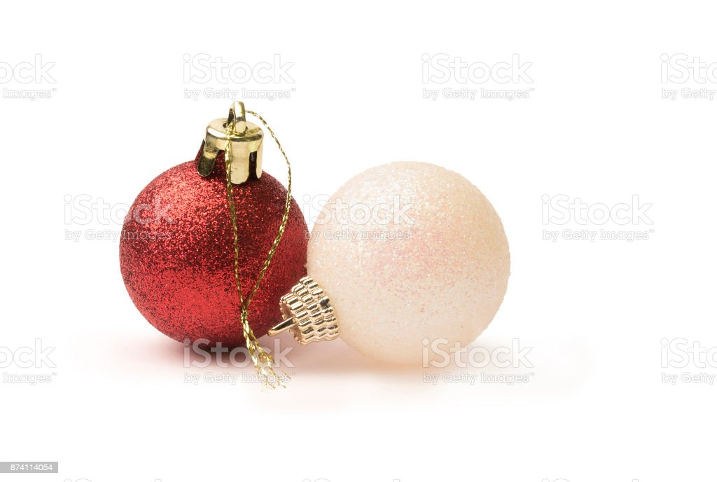 6fa81fe915da Red and white shiny glitter christmas baubles isolated on a pure white  background royalty-free