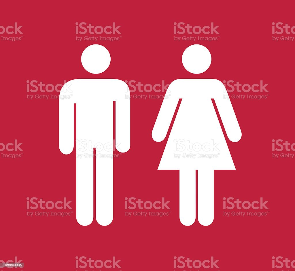 Red and white square male and female restroom sign stock photo