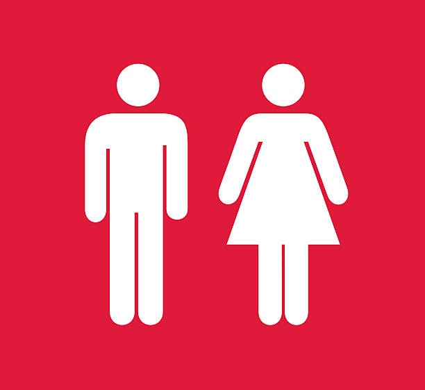 red and white square male and female restroom sign - sembol stok fotoğraflar ve resimler