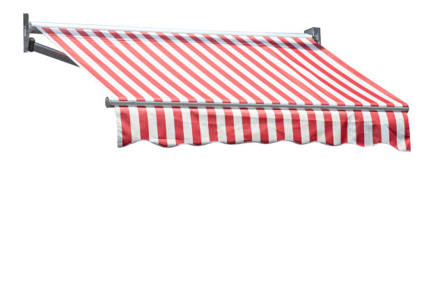 red and white striped awning isolate on white background. red and white striped awning isolate on white background. canopy stock pictures, royalty-free photos & images