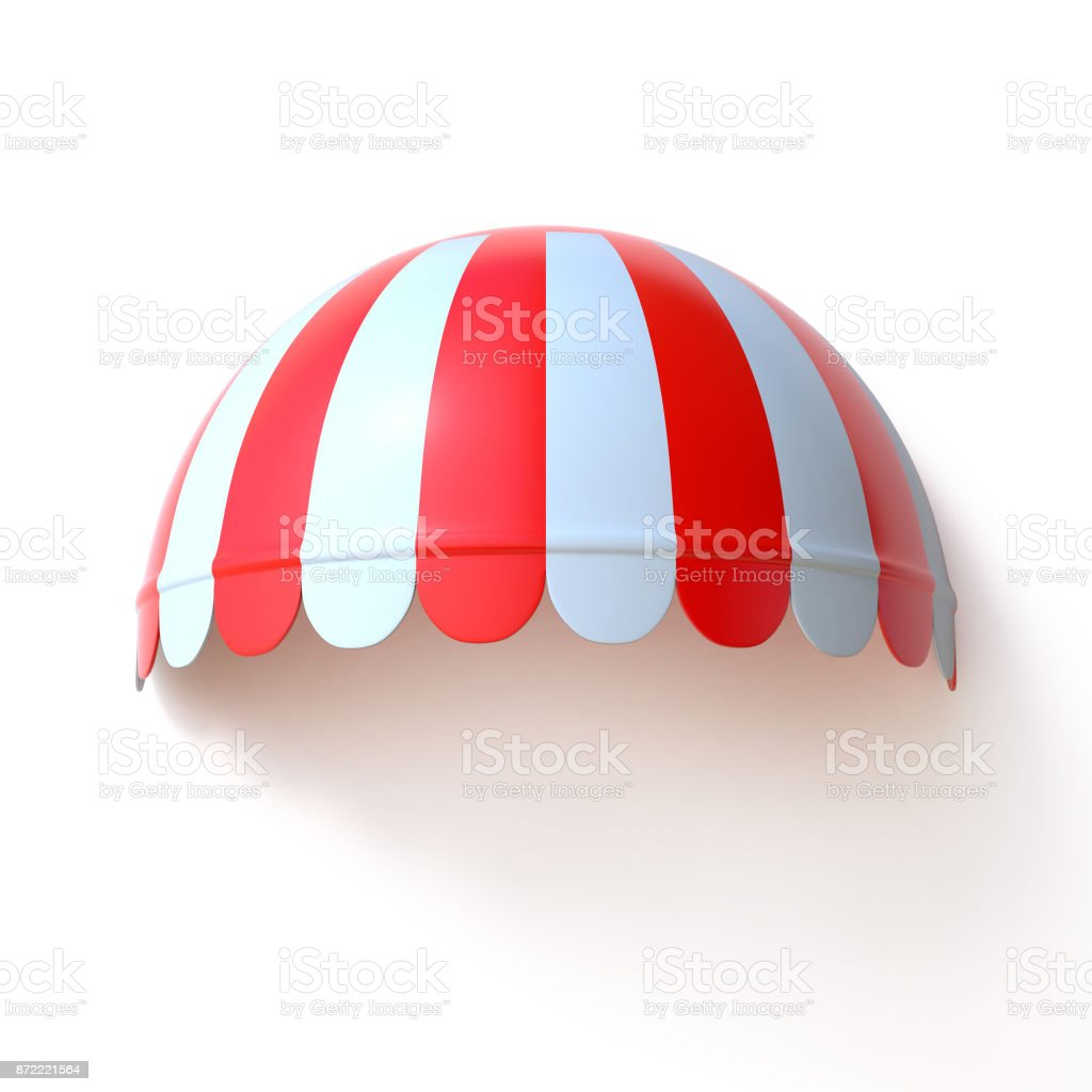 Red and white striped awning on store front 3d illstration stock photo