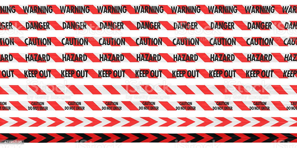 Red and White Striped Barrier Tape Line Collection: Warning/Danger/Caution/Hazard/Keep Out stock photo
