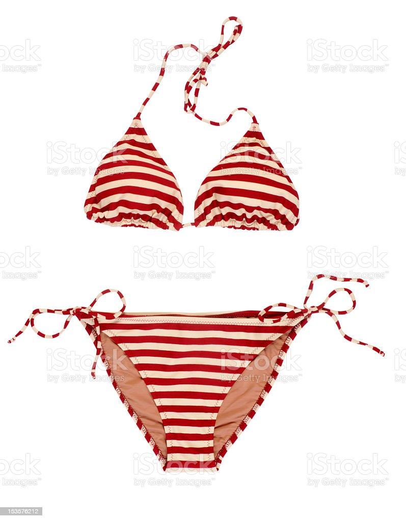 Red and white striped bikini on white stock photo