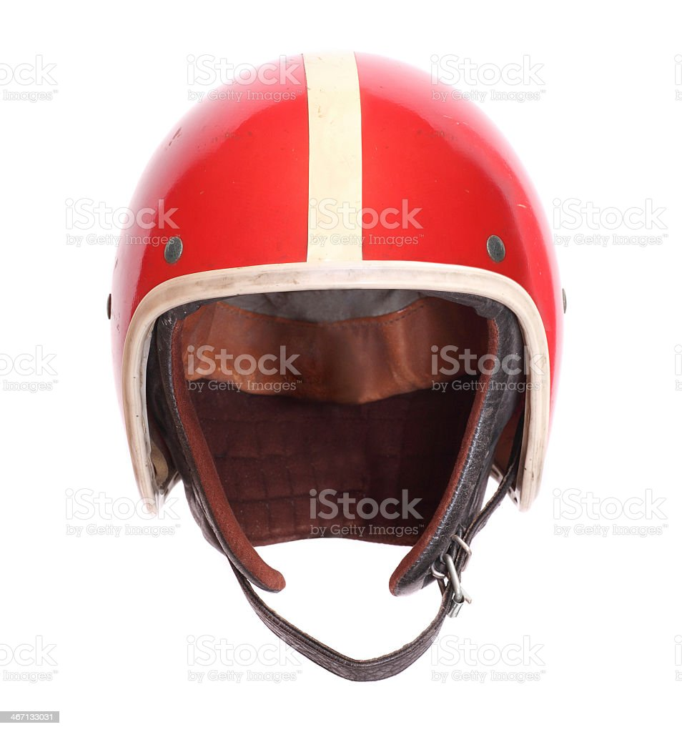 A red and white striped motorcycle helmet isolated on white stock photo