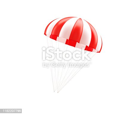 Red and white striped parachute on white background. Horizontal composition with copy space.