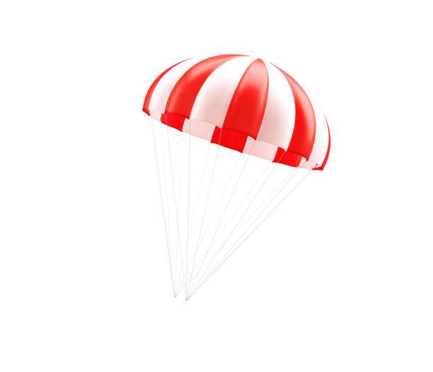 Red And White Striped Parachute On White Background Red and white striped parachute on white background. Horizontal composition with copy space. parachuting stock pictures, royalty-free photos & images