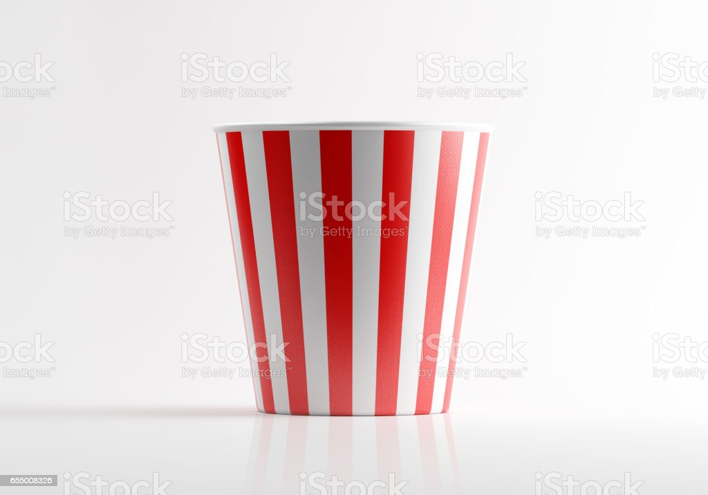 Red and White Striped Popcorn Bucket stock photo