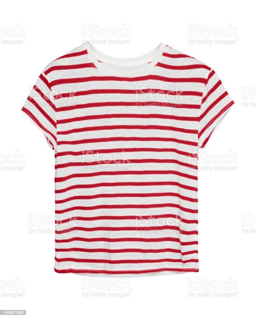 Red and white stripped sailor style t shirt isolated stock photo
