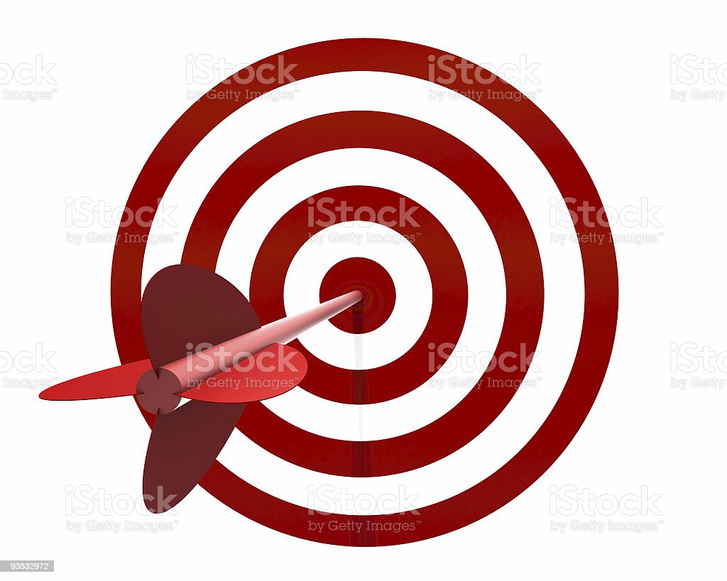 Red and white target with red dart on the bullseye stock photo