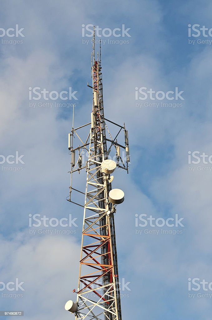 Red and White Telecom Tower royalty-free stock photo