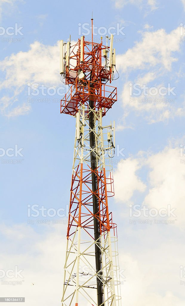 red and white tower of communications royalty-free stock photo