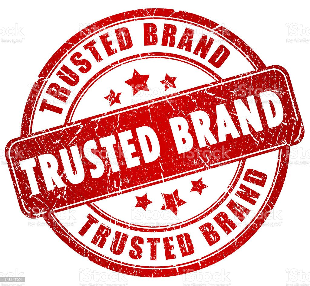 Red and white trusted brand stamp stock photo