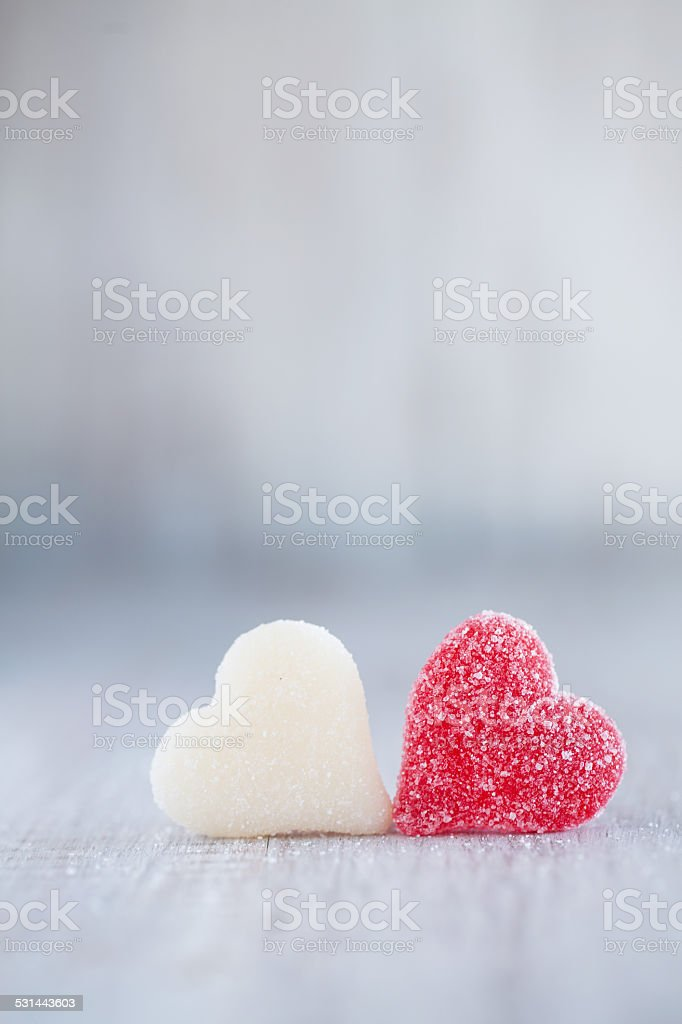 Red And White Valentines Day Candy Hearts stock photo