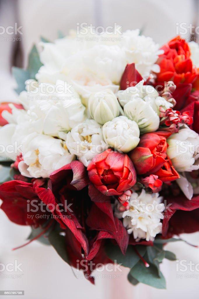 Photo Libre De Droit De Bouquet De Mariage Rouge Et Blanc