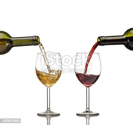 istock Red and white wine being poured into wine glass on white background 530640893