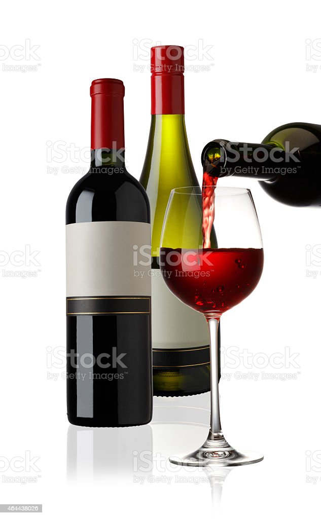 Pouring Red Wine with Red and White Wine Bottle