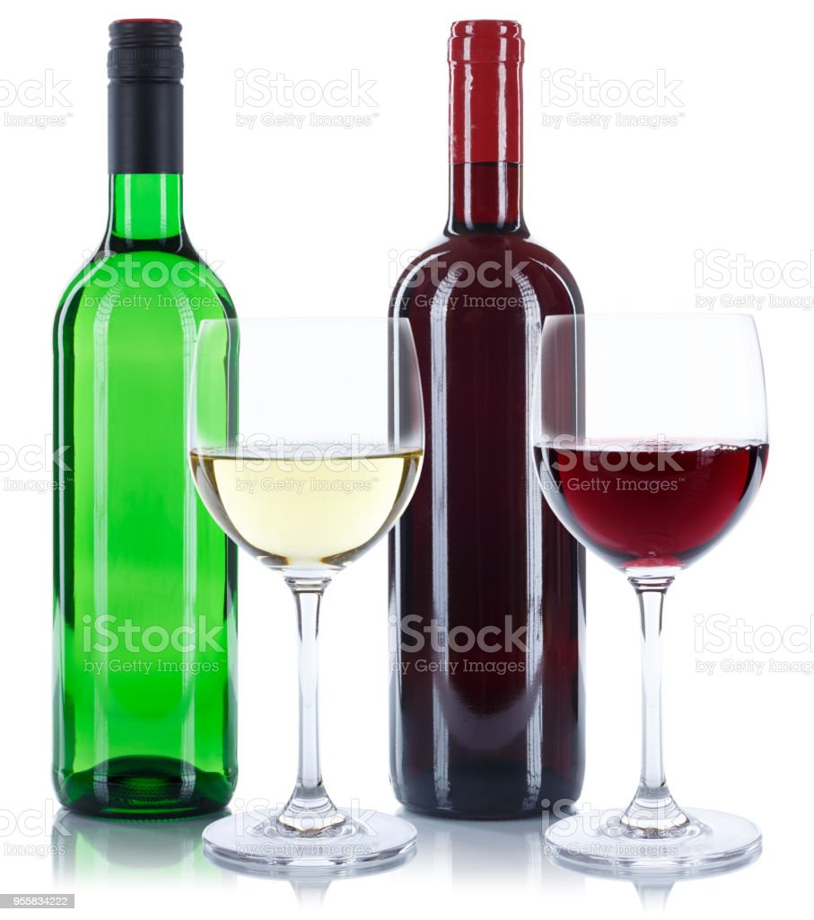 Red and white wine bottles glasses isolated on a white background