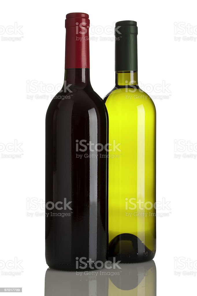 red and white wine bottles isoolated stock photo