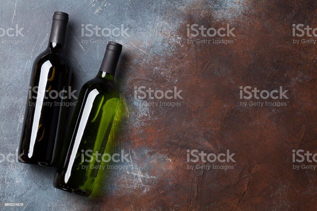 Red and white wine bottles royalty-free stock photo