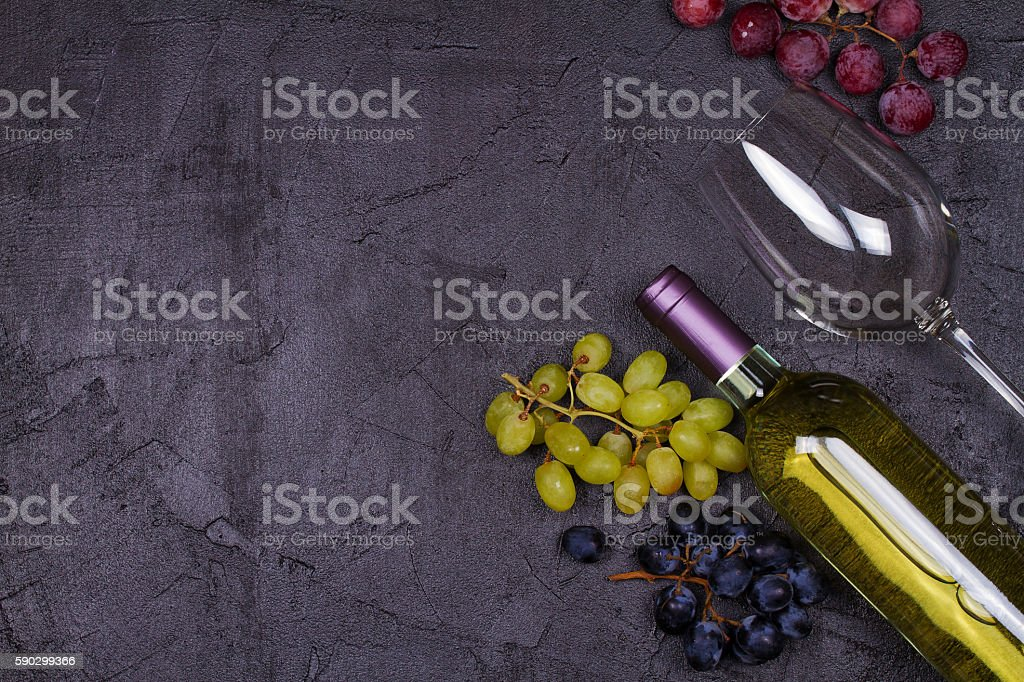 Red and white wine glass and bottle royaltyfri bildbanksbilder